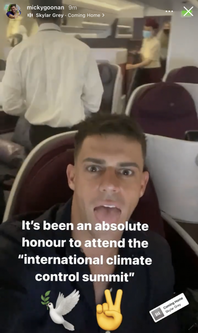 KC posted a video of herself in the backseat of a taxi in London, as Michael also shared images of his flight home. Source: Instagram @kcosbourne, @mickeygoonan.
